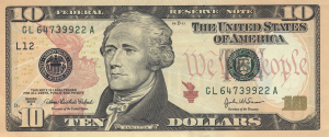 10 Dollar US Banknote