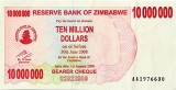 Picture of the $10,000,000 Zimbabwe dollar note