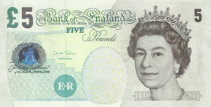 £5 GPB English Pounds