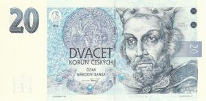 20 Czech Republic CZK Kc Koruna Banknote
