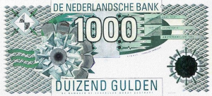 1000 NLG Dutch Guilder Banknote