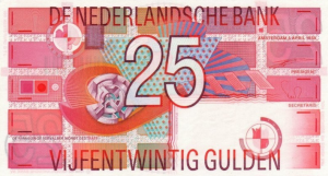 25 NLG Dutch Guilder Banknote