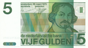 5 NLG Dutch Guilder Banknote