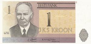 1 Estonian Kroon EEK Banknote