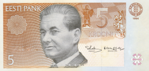 5 Estonian Kroon EEK Banknote