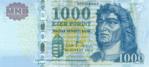 1000 HUF Hungarian Forint Banknote