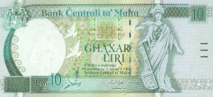 10 Lira MLT Banknote