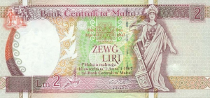2 Lira MLT Banknote