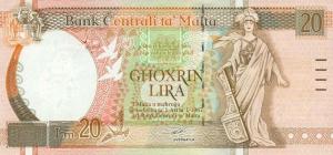 20 Lira MLT Banknote