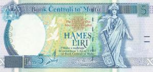 5 Lira MLT Banknote