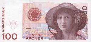 100 Norwegian Kroner NOK Banknote