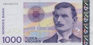 1000 Norwegian Kroner NOK Banknote