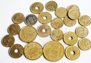 Pile of Peseta coins